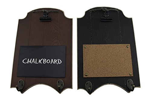 Wood Chalkboards Black & Brown Rustic Memo Board 2 Piece Wall Hook Hangings 9.5 X 14.75 X 2 Inches Multicolored by Zeckos (Image #3)
