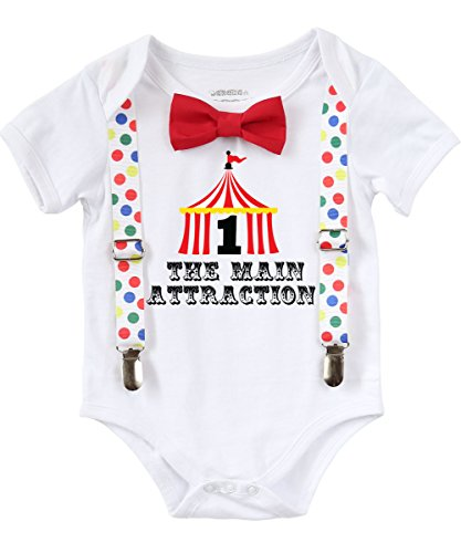 Noah's Boytique Circus First Birthday Outfit Boy With Circus Tent Number One colorful Dot Suspenders and Bow Tie Cake Smash Carnival 6-12 (Carnival Bow)