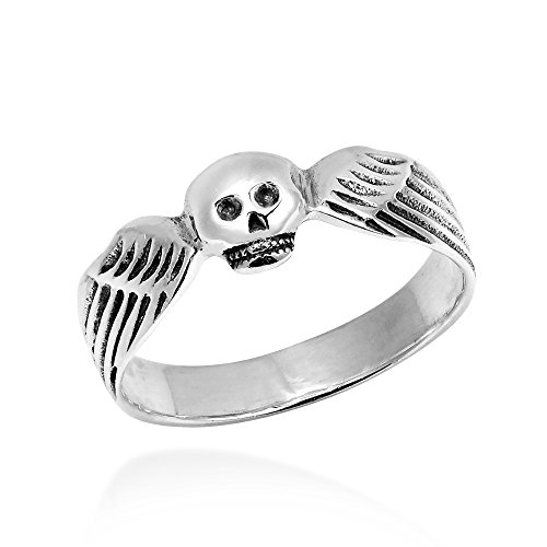 Funky Skull Angel Wing Wrap .925 Sterling Silver Ring (5.5)