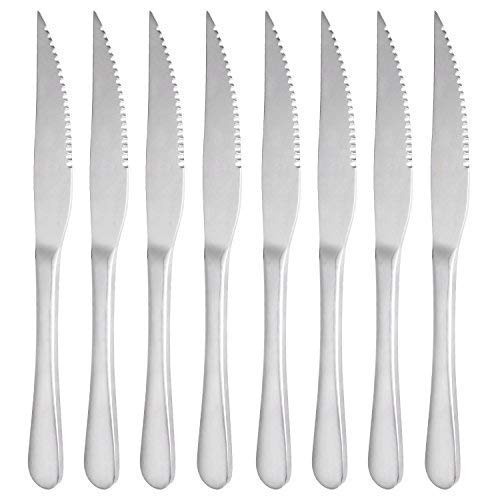Steak Knives, MCIRCO 18/10 Heavy-Duty Stainless Steel Dinner Knife Set of 8 for Chefs Commercial Kitchen - Great For BBQ Weddings - Dinners - Parties All Homes & Kitchens 18/8 Stainless Dinner Knife