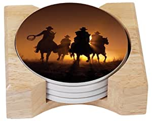 CounterArt Long Riders Design Absorbent Coasters in Wooden Holder, Set of 4