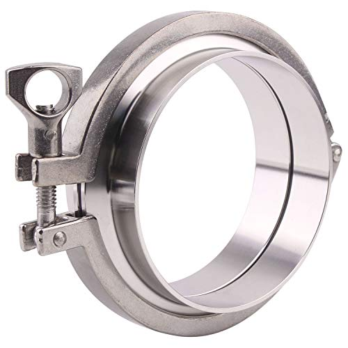 DERNORD Stainless Steel Tri-clamp (Tri-Clover Clamp) + 2 Pcs SUS304 Sanitary Pipe Weld Ferrule + Silicone Gasket (4 Inch)