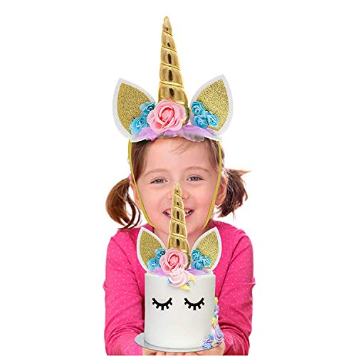 Comkite Unicorn Horn Headband and Unicorn Cake Topper in 1 - Wear as a Head Band or Use as a Unicorn Decoration for a Cake