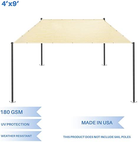 E K Sunrise 4 x 9 Sun Shade Sail- Beige Straight Edge Rectangle UV Block Durable Awning Perfect for Canopy Outdoor Garden Backyard-180GSM-Customized