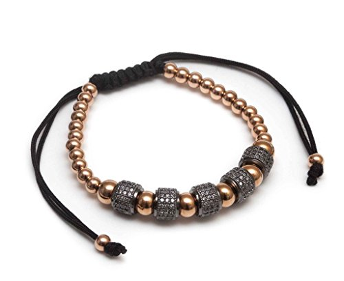 ZENGER Jewelry Zircon Roundel Macrame Bracelet - 4mm, 6mm 18kt Rose Gold Plated Stainless Steel, - Roundel 6 Beads Mm