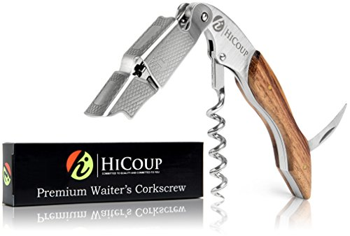 Professional Wine Opener by HiCoup  Rosewood Handle All-in-one Waiters Corkscrew, Bottle Opener and Foil Cutter, the Favoured Choice of Sommeliers, Waiters and Bartenders Around the World
