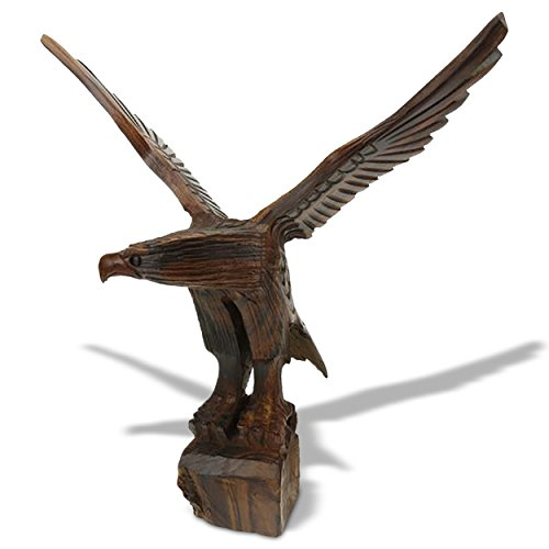 (18in Tall Flying Eagle Ironwood Carving - Wildlife Decor )