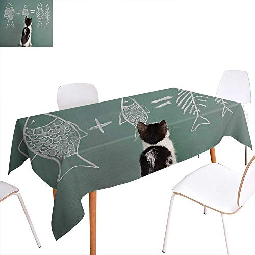 Warm Family Kitten Dinning Tabletop Decoration Cat Doing Arithmetic with Fish Problem on a Blackboard for Kitty to Solve Fishbone Table Cover for Kitchen 50