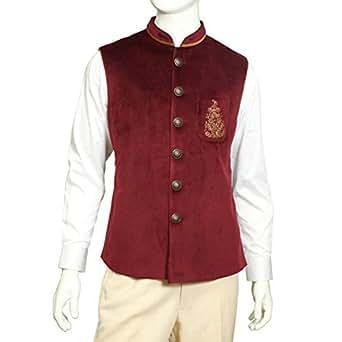 Tia Fashion Red Velvet Vest For Men