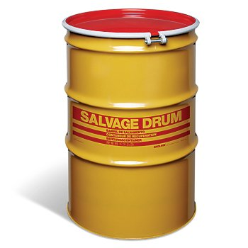 New Pig DRM1002 Open-Head UN Rated Lined Steel Salvage Drum with Red Cover, 85 Gallon Capacity, 26.56'' Diameter x 39'' Height, Gray
