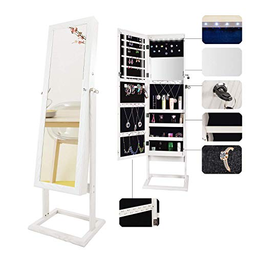Bonnlo Cheval Jewelry Armoire Stable Square Freestanding with 6 LEDs with 4 Adjustable Angle Tilting, Lockable Heavy Duty Bedroom Makeup Mirror Cabinet Organizer Closet,Xmas New Year Gift