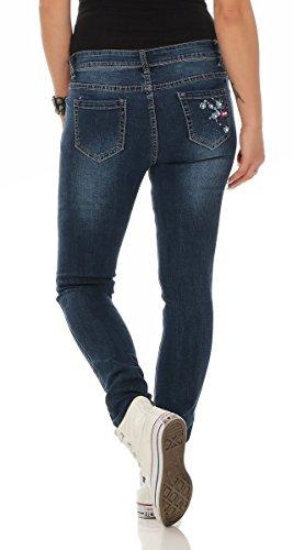 Fashion4Young Damen Jeans Röhrenjeans Hose Damenjeans Stretch-Denim Slimline versch. Designs 11390-blau sYbvh5fXdn