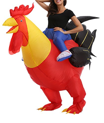 Fanny Sandy FS Adult's Chicken Inflatable Rider Costume Halloween Cosplay Suit Christmas Costume -