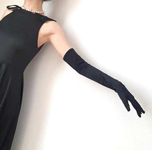 BORDER. ウェディング ロング グローブ ストレッチ サテン素材 オペラグローブ イブニンググローブ ブライダル 手袋 フリーサイズ 約55cm 【製品保証30日】