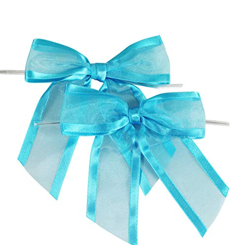 Turquoise Pre-Tied Organza Bows with Twist Ties. Pack of 12 Satin-Edged Fabric Bows Made of 1-1/2