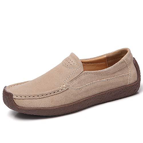 Qiusa Zapatos de Cuero Mujeres Mocasines cómodos de Gran tamaño (Color : Azul, tamaño : EU 41) Beige