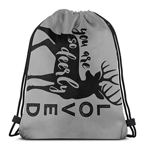 So Deerly Loved - 1 Yard Panel (42 Width) - Grey And Black_1078,Drawstring Backpack Gym Spacious Pull String Backpack for Sport School Traveling Gym Basketball Yoga 13x18 inch ()
