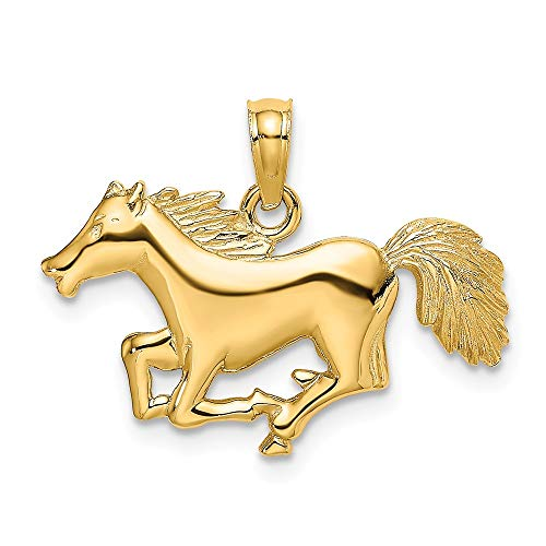 14k Yellow Gold Running Horse Pendant Charm Necklace Animal Fine Jewelry Gifts For Women For Her