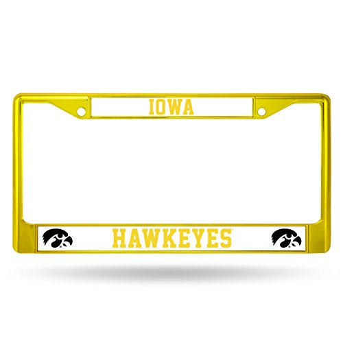 (Rico Industries NCAA Iowa Hawkeyes Team Colored Chrome License Plate Frame, Yellow )