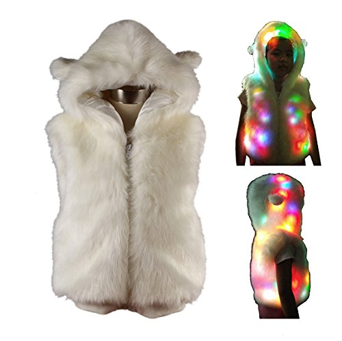 SAOMAI® Children 7 Color LED Light Faux Fur Coat Little Girls Jacket Perform Costume for Xmas Gift Halloween Fancy Dress Party Dress (110(as Height), White)