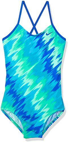 Nike Swim Big Girls' Crossback One Piece Swimsuit, Menta Splash, 12