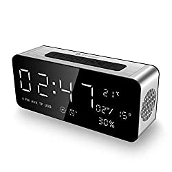 Alarm Clock Radio Bluetooth Speakers Wireless Portable Home Stereo Speaker with HD Sound/Bold Bass, FM Radios for Echo Dot, iPhone, iPad/iPod/Android and Tablets, A10, USB, Gift (Black)