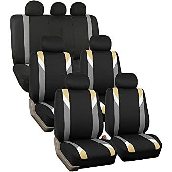 FH GROUP FB033217 Three Row Premium Modernistic Seat Covers Beige Black Fit Most Car Truck Suv Or Van