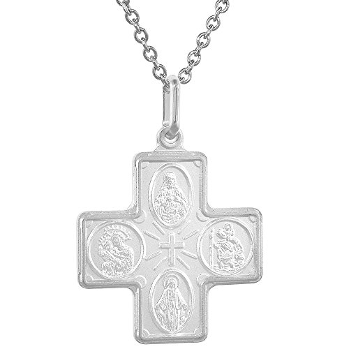 Sterling Silver 4-way Cross Medal Necklace 1 inch Italy