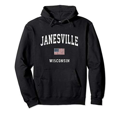 Janesville Wisconsin WI Vintage American Flag Sports Design Pullover Hoodie