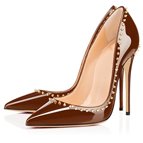 Sexy Women 12cm Dress elashe Heels Brown High High Stilettos Heels Party Pumps Gold Rivet Toe Pointed fwxvHwTd