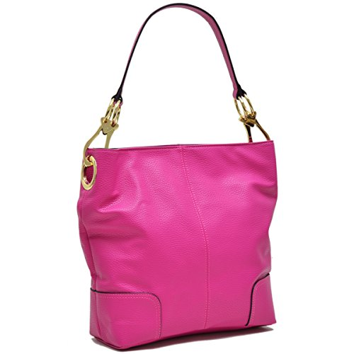 Hardware Tote Handbag - MKY Classic Medium Hobo Shoulder Bag Tote Handbag with Big Snap Hook PU Leather Hot Pink