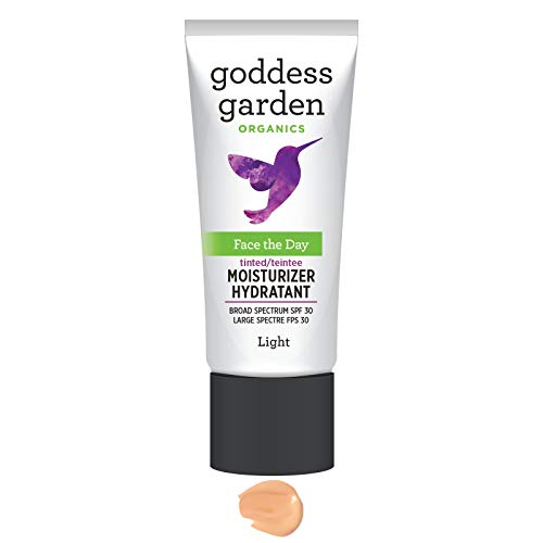 Goddess Garden Tinted Face the Day Daily Mineral SPF 30 Firming Moisturizer for Sensitive Skin (1 oz. Bottle) in Light, Reef Safe, Non-Nano, Water Resistant, Vegan, Leaping Bunny Cruelty Free ()