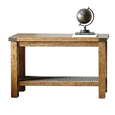 Steve Silver Hailee Console Table in Distressed Oak - Finish: Distressed Oak Crafted from wood veneer, stone veneer, and metal Industrial styling with hardware accents on the table top corners - living-room-furniture, living-room, console-tables - 41XUet vzPL. SS400  -
