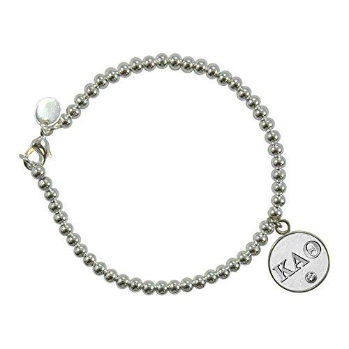 Navika Kappa Alpha Theta Silver Charm on 4mm Ball Bead Bracelet