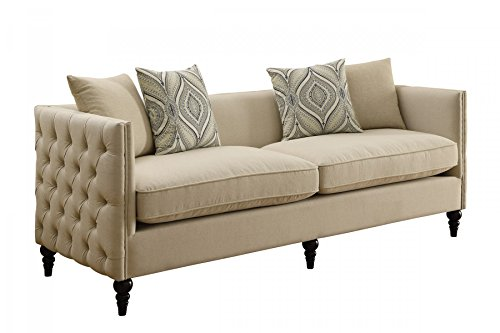 1PerfectChoice Claxton Traditional Beige White Linen Blend Sofa