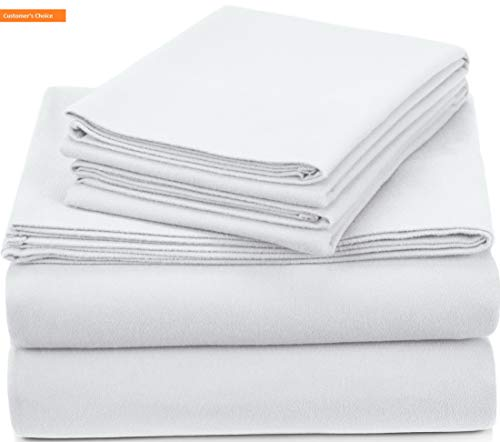 Mikash New Soft Pinzon Signature 190-Gram Cotton Heavyweight Velvet Flannel Sheet Set - King, White | Style 84597630