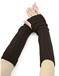uxcell® Women Textured Knitted Arm Warmers Pair