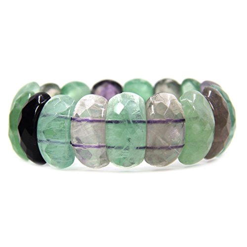 Fluorite Green Bracelet - Amandastone Natural A Grade Green Fluorite Gemstone 25mm Oval Facted Beads Stretch Bracelet 7