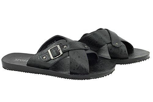 Mens Patterned Faux Leather Black Cross Over Strap Big Size Sandals Walking Mule 5QFHvtulA