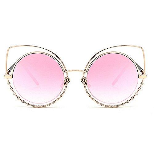 ojos Beach al libre mujer de Gris de de sol UV Summer cristal aire gafas Diseño Gu gato gafas Peggy de de conducir Protección para de vacaciones Color Oversized Rosado sol wqtFxtA1