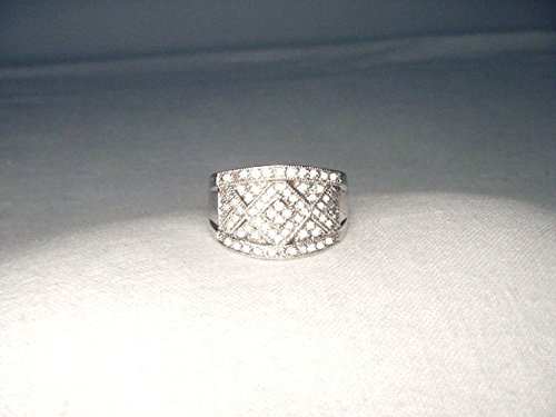 Gorgeous Estate 14K White Gold Diamond Mosaic Wide Wedding Band Ring