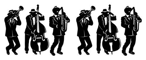 Beistle S57770AZ2 Jazz Trio Silhouettes 6 Piece, Black/White -