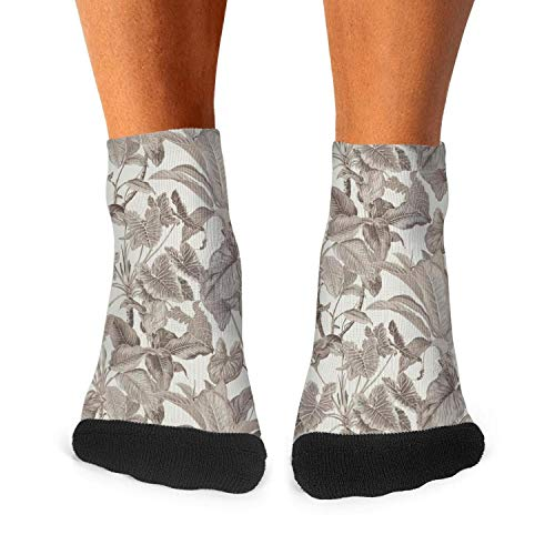 Tropical leaves wallpaper jungle leaf gray Boys' Crew Socks Low Cut Fashion -