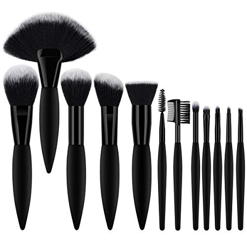 (BTYMS Professional Makeup Brush Set 12pcs Premium Synthetic Hair Cosmetic Beauty Brushes Face Makeup Brushes for Liquid Foundation Powder Concealer Blush Eyebrows Lips Eyeshadow Makeup Brushes)