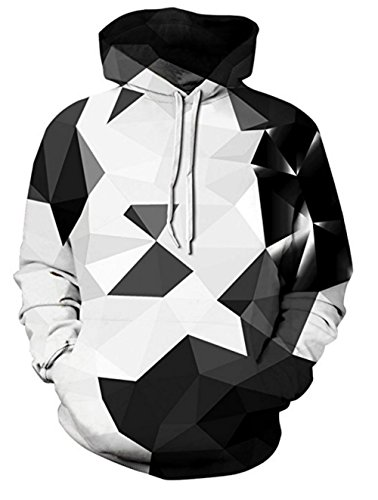 (OYABEAUTY Unisex Realistic 3d Print Galaxy Pullover Hoodie Hooded Sweatshirt (Large/X-Large, Geometry Grey))