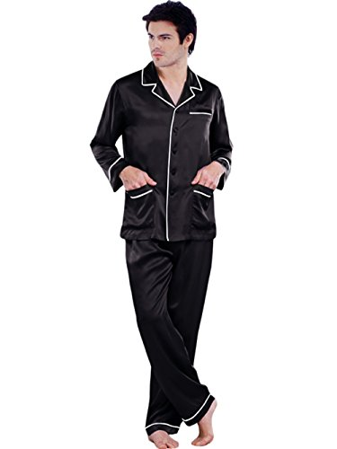 ElleSilk Men's Long Sleeve Silk Pajamas, Pure Mulberry Silk Sleepwear, Hypoallergenic, Black/White, M by ElleSilk