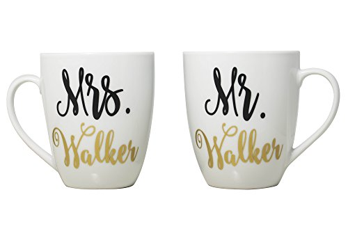 Personalized Mr. & Mrs. Coffee Mugs Wedding and Engagement G