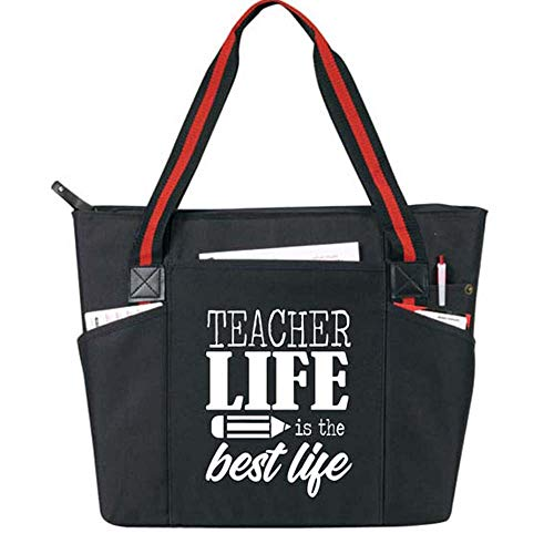 Teacher Life is the Best Life - Large Zippered Teacher Tote Bags with Pockets - Perfect for Work, Gifts for Teachers, Teacher Appreciaiton Day (Teacher Life Best Life -