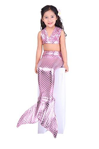 Dressy Daisy Girls' 3pcs Mermaid Tail Swimwear Mermaid Swimsuit Bathing Suit Bikini Costume Dress Size 6/6X Purple Pink