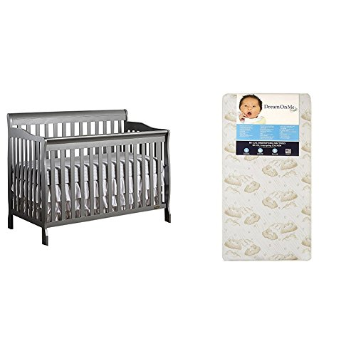 Dream On Me Ashton 5 in 1 Convertible Crib with Dream On Me Spring Crib and Toddler Bed Mattress, Twilight